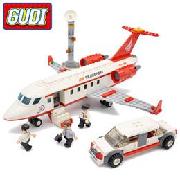 Wholesale Plane Brick Block - GUDI City Airport VIP Private Jet Plane Blocks 334pcs Bricks Building Block Sets Educational Toys For Children