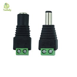 Wholesale Connector Camera - Tanbaby 1piece strip connector Male Female 2.1x5.5mm Jack DC Power Adapter connector for 3528 5050 5630 strip ,CCTV Camera Black
