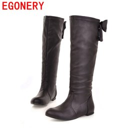 Wholesale Black Knee Wedge Boots - Wholesale-EGONERY autumn winter women shoes motorcycle knee high boots botas femininas wedges flat shoes ladys woman boots style big size