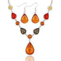 Wholesale Exotic Earrings - Foreign trade in Europe and America color gem sweater chain exaggerated luxury AMBER EARRINGS suit national exotic wind accessories wholesal