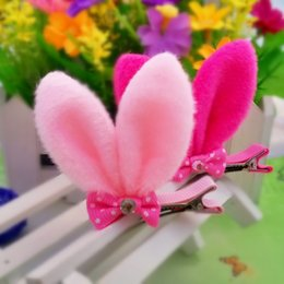 Wholesale Ears Hair Clip - Girls Plush Cotton Solid Rabbit Ear Hair Clip With Bow Girls Hair Accessories Resign Diamond Lovely Hair clip