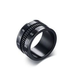 Wholesale Anniversary Camera - Fashion New Men Stainless Steel Ring 12MM Wide Black Camera lens Ring For Men Jewelry Wholesale Fress Shipping