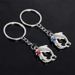 Wholesale Couple Birthday - Bling Crystal Rhinestone Dolphins Metal Alloy Keychain Couples Key Chain Pendant Keyring Keychains Birthday Gift Best Gift