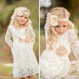 Wholesale Shirts Images For Kids - Princess Boho Lace Flower Girl Dresses For Summer Garden Weddings Knee Length Crew Neck Kids Formal Wears Girls Birthday Dresses