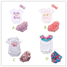 Wholesale Girls Crown Dress - Baby Girl Clothes Romper Set Tutu Dress Ruffle Suit Toddler Jumpsuit Kids Crown Onesies Floral Underpants Children Clothing Set Outfit