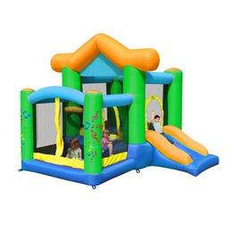 Wholesale Inflatable Bouncer Toys - MR FUN residential happy hop bouncy trampoline with ball pool quality renting inflatable house bouncer kids garden yard inflatable castle