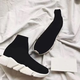 Wholesale top cheap sneakers - Double Box Speed Trainer Boots Socks Stretch-Knit High Top Trainer Shoes Cheap Sneaker Black White Woman Man Couples Shoes Casual Boots