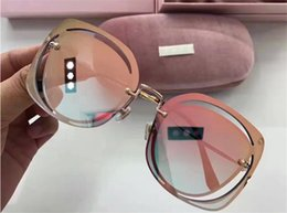 Wholesale New Fashion Coats For Women - New hot selling brand glasses MU frameless square frame hollow clear coating lens top quality 5 color with original box for women