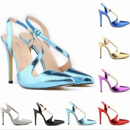 Wholesale Shoe Crocodile Sandals - New female Casual Shoes Women Glitter Red Sandals Fashion Crocodile Pattern Pointed Toe Party High Heels Mules Shoes Woman Pumps Plus Size