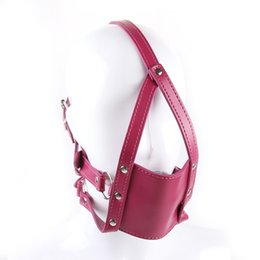 Wholesale leather face mask sex - Red Leather Masks Ball Gag Sex Fetish Restraint Bondage Face Mask Silicone Ball Gag Fantasy Cosplay Leather Head Harness Gags