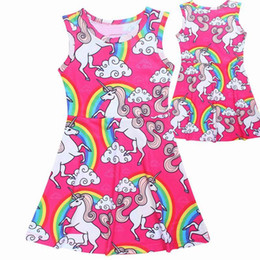 Wholesale Clouds Clothing - Girls Summer Dresses Unicorn Rainbow Clouds Cotton Casual Dress Children Clothing 4-10Y E6140