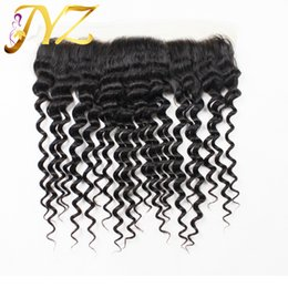 "Wholesale Deep Wave Closures - Top quality 13""*4"" Ear To Ear Lace Frontal Closure Deep Wave Virgin Brazilian Full Lace Frontal Closures With Baby Hair Peruvian Malaysian"