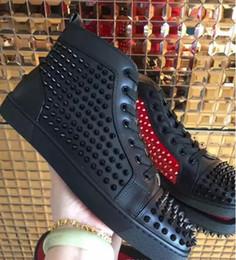 picos de atacado para couro Desconto Transporte da gota new casual atacado Novos homens mix picos de couro genuíno preto de alta top vermelho sapatilhas de fundo, moda sapatos de skate