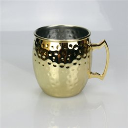 Wholesale Gold Water Bottles - Moscow Mule Gold Mug Hammered Cups Drinking Moscow Copper Beer Coffee Cups Hammered Mugs Stainless Steel Water Bottles Golden Color