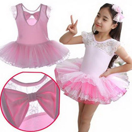 Wholesale Belly Dance Practice Wear - Ballet Tutu Skirt For Kids Pink Lace Sweet Leotard Girls Practice Costume Children Stage Ballet Dancing Wear Tutu