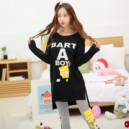 Wholesale Korean Cute Sexy - Wholesale- Korean version of the spring and autumn long - sleeved cute sweet cartoon sets of pajamas women 's leisure home clothes suits