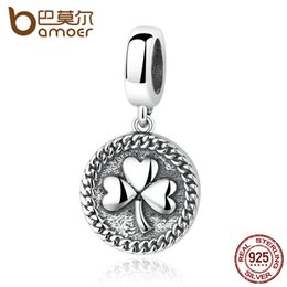 Wholesale Vintage 14k Gold Charm - Wholesale-BAMOER Vintage 100% 925 Sterling Silver Clover Round Shaped Pendant fit DIY Beads & Jewelry Makings Accessories SCC039