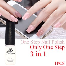 Wholesale One Step Gel Nail Polish - Wholesale-Saviland nail gel one step 3 in 1 UV gel color soak off no need top and base coat French Manicure kit
