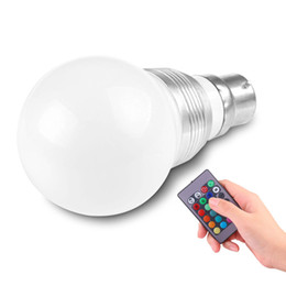 Wholesale B22 Bayonet White Led - Wholesale- LemonBest 3W B22 16 Colors Changing RGB LED Light Blub for Home Bayonet Bulb with Remote Control Lamp AC85-240V