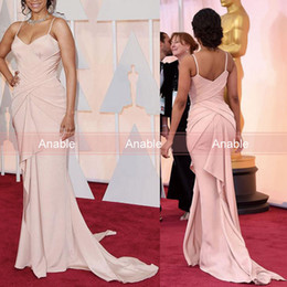 Wholesale Dress Zoe - 2016 Oscar Red Carpet Celebrity Dresses Nude Pink Sheath Spaghetti Corset Boned Bodice Gathered with Ruffles Zoe Saldana Prom Dresses