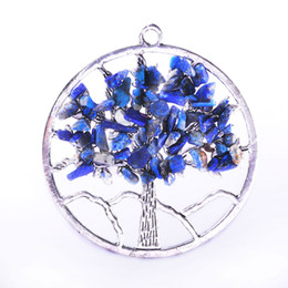 Wholesale Natural Stones For Pendant Making - Zinc Alloy Silver Color Circle Colorful Tree Of Life Natural Stone Pendant DIY Floating Charms For Jewelry Making For Necklaces & Bracelets