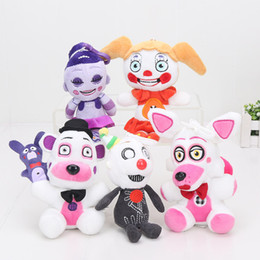 Wholesale Toy Baby Video - EMS 15cm Five Nights At Freddy's Plush Toy Doll FNAF Sister Location Funtime Foxy Freddy Ennard Circus Baby Ballora keyring pendant Kids toy