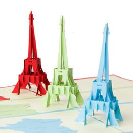 Wholesale eiffel tour - (10 pieces lot)Handmade Creative Kirigami 3D La Tour Eiffel Tower Greeting Cards Birthday Greeting Card Pop UP Gift Card