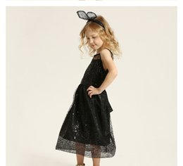 Wholesale Wholesale Mid Length Skirts - Princess Children Girls Dresses Blue Sleeveless Polyester Sequined Bow Summer Cute Style Skirt New Kids Clothes