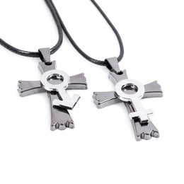 Wholesale Cross Couple Necklaces - Europe and the United States cross pendant couple titanium steel necklace fashion Keluo Star sweater chain men and women pendant jewelry