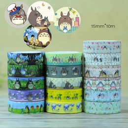 Wholesale Cute School Supplies Wholesaler - Wholesale- 2016 4 pcs Lot cute Totoro paper tapes 1.5cm*10m washi tape Japanese Masking deco adhesive stickers Stationery school supplies