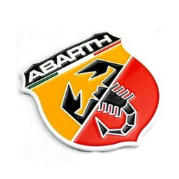 Wholesale Abarth Badge - 2pcs lot Automobile Accessories Car Body Styling Stickers With Abarth Logo Emblem Badge