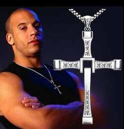 Wholesale Wholesale Fast Furious - New The Fast and Furious movie Dominic Toretto Classic Male Rhinestone CROSS Pendant Necklace by DHL