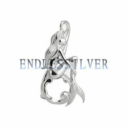 Wholesale Sterling Silver Jewellery Pendants - Wishing Pearl Mermaid Cage Pendant 925 Sterling Silver Girls Gift Jewellery Pendant Mounting for Pearl Party