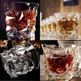 Wholesale engraving cutting - Hot Creative goblet Engraved Design glasses about 300-400ML transparent Glass Drinkware Stereoscopic sensation Wine Glasses IB248