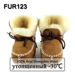 Wholesale Sheepskin Baby Boy - Wholesale- FUR123 Winter Baby Shoes Boots Infants Warm Shoes Fur Wool Girls Baby Booties Sheepskin Genuine Leather Boy Baby Boots