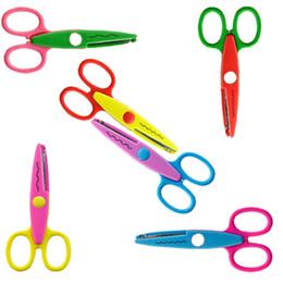 Wholesale Scissors For Paper - 5 Inch Craft Scissors Kids Paper Edger for Scrapbook School Mix 6 Color Kids Hot Love Scissor C123Q