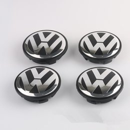 Wholesale Vw Beetles - VOLKSWAGEN VW 65MM SET OF 4 BLACK CENTER WHEEL HUB CAP LOGO EMBLEM 3B7601171 Free Shipping