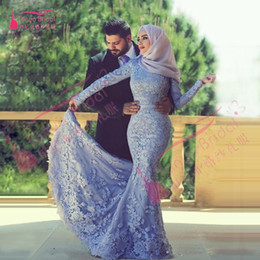 Wholesale Nude Sexy Women Photo - Elegant Long Sleeve Muslim Evening Dress Mermaid bridal Dresses High Neck Women Special Occasion Dress Islamic Dresses with Hijab Real Z284