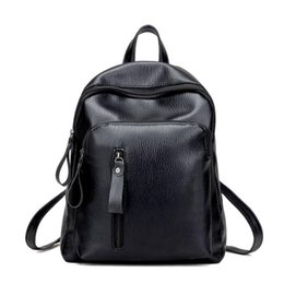 Bolsos negros para la escuela online-Mujeres Mochilas Bolsos Bolsos Mujeres Marcas famosas Popular Girl Folds Soft PU Leather Black Shoulder Bag Male School Bags