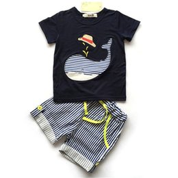 Wholesale Toddler Striped Shirt - Summer Boys Clothes suits Baby Clothing sets INS Kids Short Sleeve striped T shirt+Shorts toddler Children Boutique clothing wholesale hot