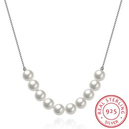 Wholesale Nice Pearl Necklace - Christmas Chain Necklace Sterling Silver White Pearl Handmade Gemstone Genuine Women Nice Jewelry Free Shipping SVN083