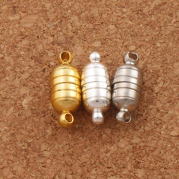 Sıcak 50 takım / grup 18 * 6 MM Güçlü Manyetik Mıknatıs Kolye Klipsler 3 Renkler Gümüş / Altın Kaplama Kolye Takı için DIY L1762 nereden