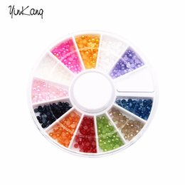 Wholesale Flatback Pearls Mixed Sizes - Wholesale- 12 Colors Mix Sizes Candy Color Shiny Half Round Flatback Pearls Nail Art Stickers Tips 3D Decoration Wheel