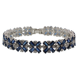 Wholesale Natural Blue Sapphires - Natural Blue Sapphire 925 Sterling Silver Links Bracelets Rhinestone Gemstone White Topaz Free Shipping Chain 7 Inch
