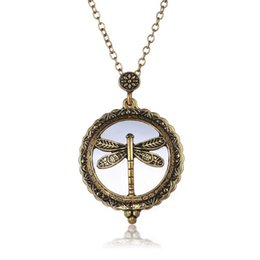 Wholesale Glass Dragonfly Pendant - Gold Plated Antique Dragonfly Design Locket Chain Necklace Reading Glass Crystals Neckalce Magnifying Glass Cage Pendant Necklace 16N0323