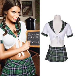 Wholesale Cosplay Sexy School Uniform - new 2pcs Set Sexy Students School Girl Uniform Role Play Costumes Women Girl Plaid Cosplay Clothing Adults Halloween Clothes