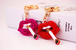 Wholesale Lips Purse - DHL FREE CZ Crystal Creative Blazing Red Lips Keychains Red Mouth Key Holder Purse Bag Car Keychains Christmas Gift 2017 brand key chain