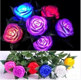Wholesale Romantic Love Light - Hot selling Romantic Changeable Color LED Rose Flower Light Roses Love Lamp Best for Valentine's Day Christmas
