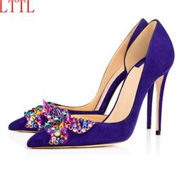 Wholesale Fahion Shoes - LTTL Rivet Decoration Spring Women Shoes suede Leather Fahion Party Shoes High Heel Pointed Toe Shallow Blue Pumps