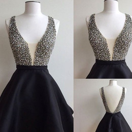 Wholesale Cocktail Dresses For Graduation - 2017 Sexy Short Black Homecoming Dresses Beaded V-neck Real Photo Backless Graduation Cocktail Party Gowns For Girls Sweet 16 Dress